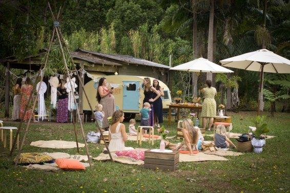 Vintage caravan garden party for wedding, baby shower or bridal shower