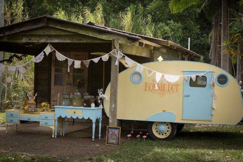 Vintage caravan wedding high tea hens and baby shower hire